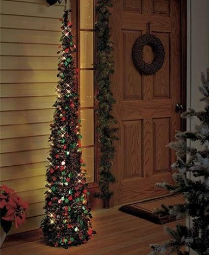 Affordable Collapsible 65 Lighted Christmas Trees In Green Red