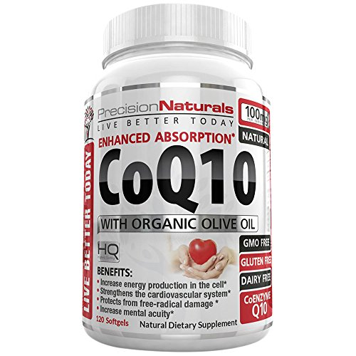 Coenzyme Q10 Softgels (Coenzyme Q10 CoQ10 100mg Softgels/Capsules High Absorption Ubiquinone Supplement 120 Count The Best Vitamin for Your Heart Health/Fertility With Organic Olive Oil)