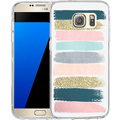 S7 Case Colored stripes graffiti, LAACO Scratch Resistant TPU Gel Rubber Soft Skin Silicone Protective Case Cover for Samsung Galaxy (Samsung Stripe)