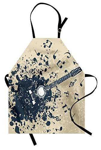 Ambesonne Modern Apron, Acoustic Guitar on Retro Murky Background with Music Notes Melody Illustration, Unisex Kitchen Bib Apron with Adjustable Neck for Cooking Baking Gardening, Beige Dark (Easy Music Themed Costumes)