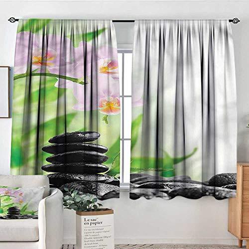 (PriceTextile Spa,Customized Chid Curtains Zen Basalt Stones Orchid 104