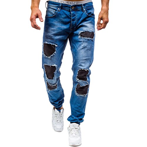 cheap GRMO Men's Casual Ripped Hole Stretch Skinny Destroyed Washed Denim Pants free shipping