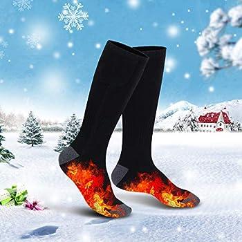 Achirarko Unisex Rechargeable Electric Heated Socks Battery Powered Comfortable Socks-Winter Socks Sport Outdoor Hunting Camping Hiking Warm Cotton Socks for Men Women (Black)