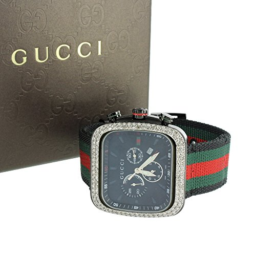 Mens I Gucci YA131202 Watch Digital Rubber Strap 4CT Diamonds Round Face