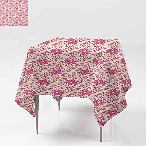 (AndyTours Spill-Proof Table Cover,Pinwheel,Floral Style Curved Lines with Yellow Spots Distressed Effect in Retro Style,Party Decorations Table Cover Cloth,36x36 Inch Pink and Yellow)