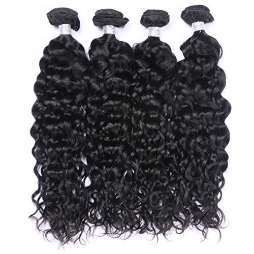 IMAYLI 7A Peruvian Hair Bundles Water Wave Natural Wave Hair Bundles Wet and Wavy Deep Curly Weave Human Hair Bundles 100% Remy Human Hair Extensions Natural Black(20202020) (Remy Human Curly Hair Extensions)