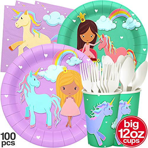 Princess and Unicorn Party Plates Big Cups Napkins