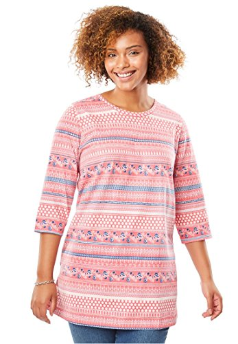Cuff Tunic (Women's Plus Size Perfect Print Knit Tunic Shirt In Pure Cotton With Scoop Neck,)