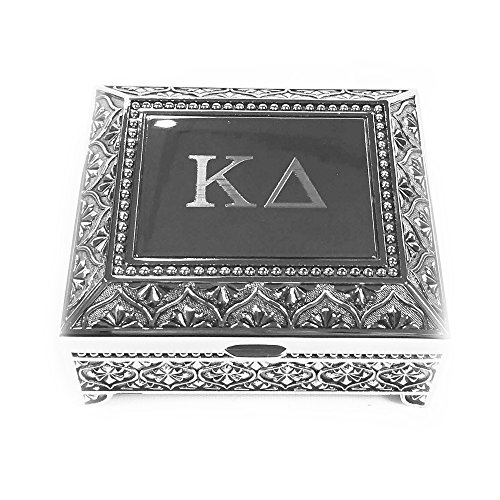 Kappa Delta Engraved Pin Box Sorority Greek Decorative Trinket Case Great for Rings, Badges, Jewelry Etc. KD (Vintage Footed Pin Box)
