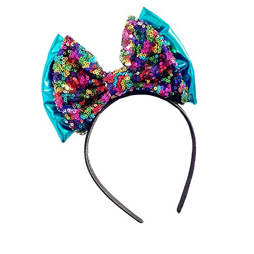 BIZAR Baby Girls Mermaid Sequins Big Bow Headband Bling Fish Scales Bowknot Party Hair Accessory