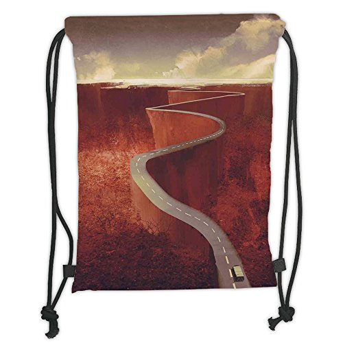 Custom Printed Drawstring Sack Backpacks Bags,Fantasy Art House Decor,Scenic Road with Truck Extreme Winding Curve on Cliffs Theme,Dark Orange Cream Soft Satin,5 Liter Capacity,Adjustable String Closu by iPrint
