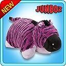 """Pillow Pets Authentic 30"""" Purple Zebra, Folding Plush Pillow- Jumbo"""