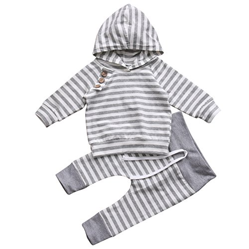 Newborn Baby Boy Girls Long Sleeve Hoodie Tops Pants Clothes Set (6-12 Months, Turkey)