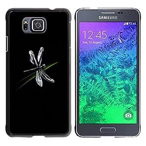 Design for Girls Plastic Cover Case FOR Samsung ALPHA G850 Dragonfly Bug Art Grass Black Simple Flying OBBA