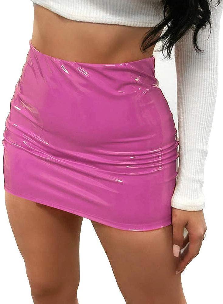 CiKiXZ Falda de piel sintética para mujer, aspecto mojado, piel sintética, falda de lápiz, minifalda de cintura alta