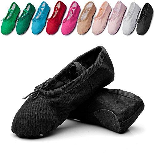 MSMAX Classic Ballet Dance Flat Yoga Practise Shoes Black Era9f
