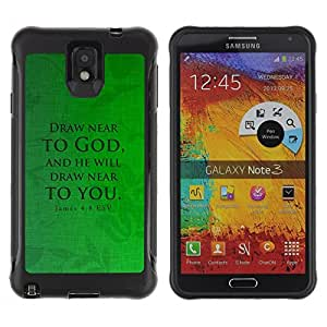 Suave TPU Caso Carcasa de Caucho Funda para Samsung Note 3 / BIBLE James 4:8 Draw Near / STRONG