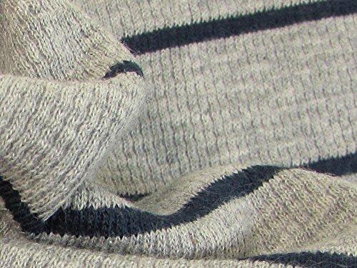 - Organic Cotton Plus Knitted Waffle Rib- Grey/Navy Stripe