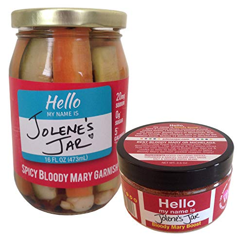 Jolene's Jar Spicy Bloody Mary Garnish (16oz) AND 3-in-1 Original Bloody Mary Boost Seasoning Mix (3.5oz) Combo Pack