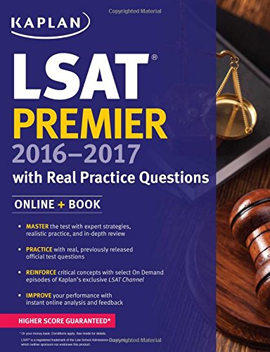 Kaplan LSAT Premier 2016-2017 with Real Practice Questions: Book + Online (Kaplan Test Prep) by Kaplan Test Prep cover