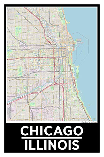 Spitzy's Chicago Illinois 12 by 18 Poster, City Map, Chicagoan, Home Wall Art Printed Bedroom Decoration, Windy City