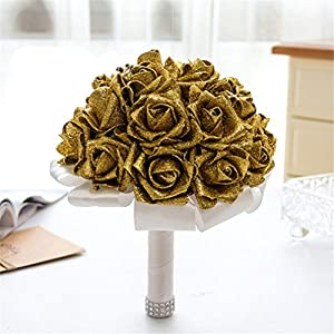 FantasyDay Rose Flower Wedding Bouquet, Dazzling Bridesmaid Bouquet Bridal Bouquet with Crystals Soft Ribbons, Flowers Leaf Wedding Floral Decor Bouquet for Wedding, Party and Church, Dazzling Gold 23