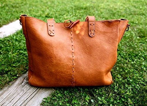BOHO Leather BAG // Boho leather shoulder bag / Big tote bag with cross-body strap / Deer Leather bag / Boho chic bag / Ethnic leather bag by KURTIK