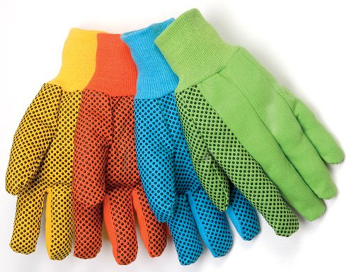 Liberty 4505A/B 10 oz Cotton Canvas Men's Glove with Black PVC Dots On Palm, Fluorescent Blue (Pack of 12)