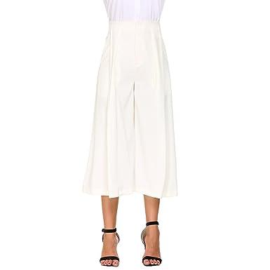 8ec1fc6686c Eric Hug New Work Office Pants Women Pleated Front Wide Leg Pants Casual  Loose Capri Culottes