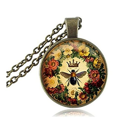 Queen Bee Necklace Flower Jewelry Animal Honeybee Cabochon Pendant Letter Jewelry Antique Bronze Chain Neckless Women Jewellery ()