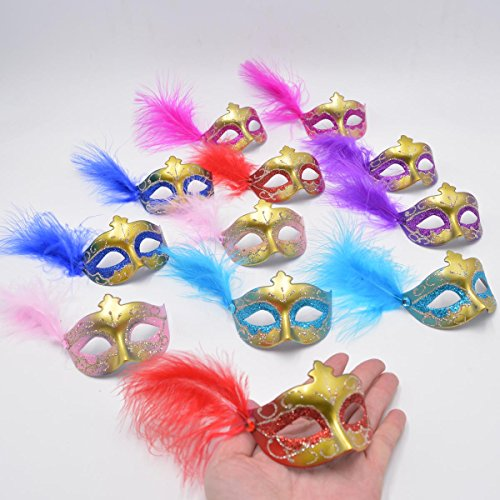 Yiseng Mini Masks Novelty Gifts 12pcs Set Feather Aside Venetian Masquerade Party Decoration (Mix Color) Day Venetian Mask