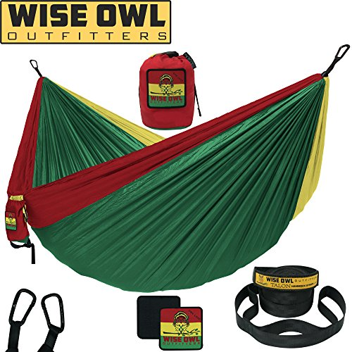 Wise Owl Outfitters Camping Hammock with Tree Straps Premium Double 2 Person, Single 1 Person Portable Lightweight Heavy Duty Parachute Hammocks, Best Camp Gear Indoor Outdoor Beach DO ON