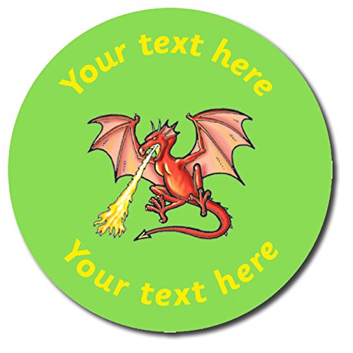Primary Teaching Services Personalised Dragon Sticker Green 37 Millimetres x 35