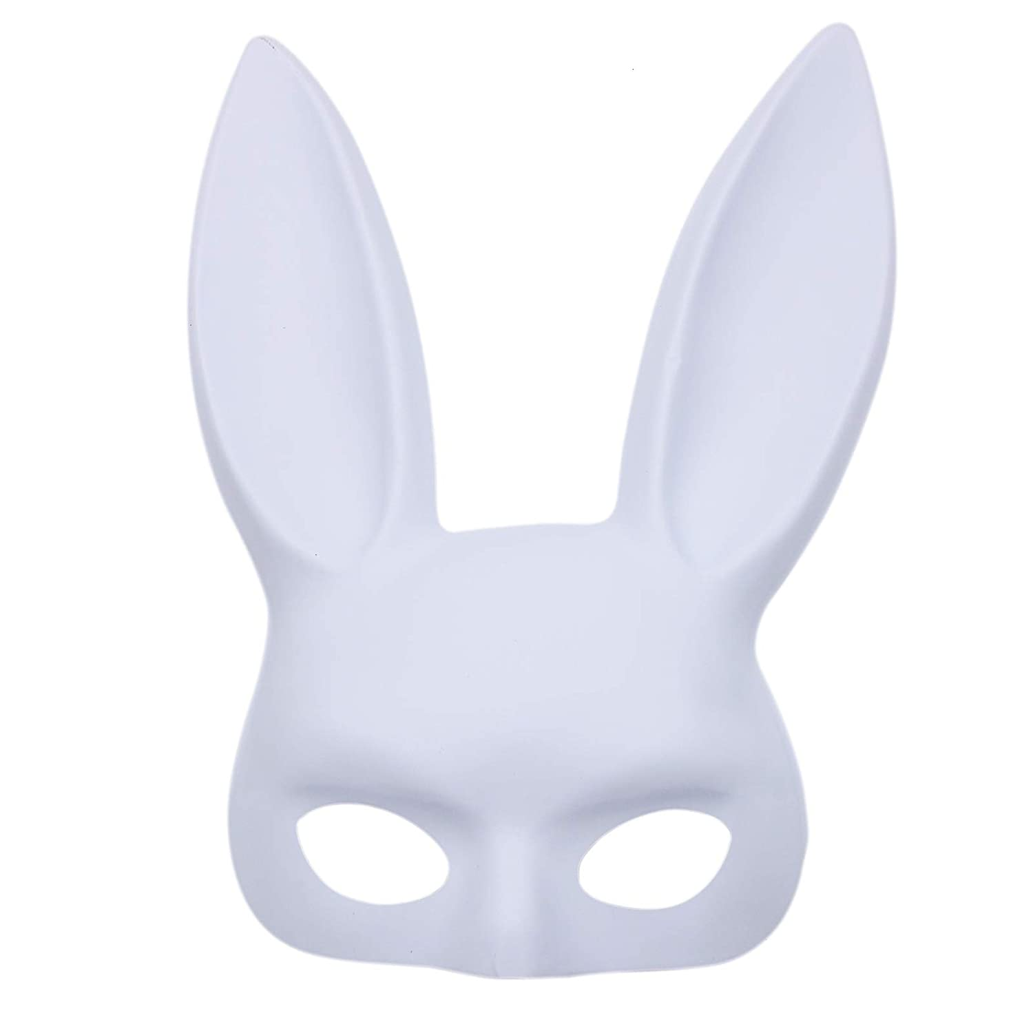 WSSROGY Rabbit Mask Bunny Mask Masquerade Mask for Carnival Halloween Costume Accessory Party Favors White