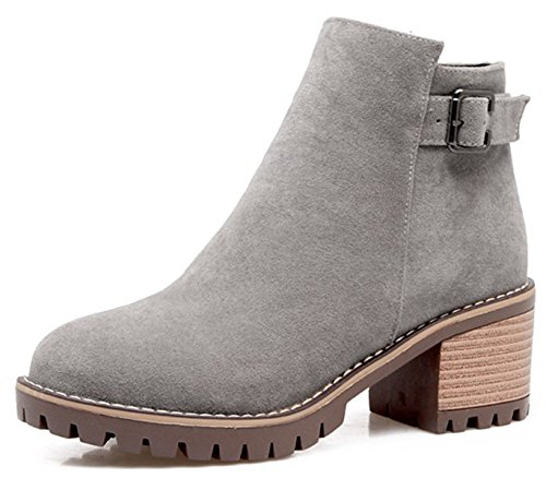 Easemax Women's Casual Side Zipper Faux Suede Round Toe Short Ankle Boots With Chunky Heels Grey f1TjAF