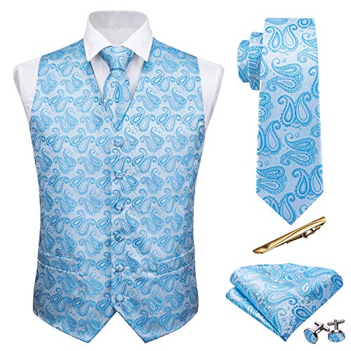 (Barry.Wang Blue Paisley Vest Formal Suit Handkerchief Cufflink Tie Set Silk Wedding Business Men Dress)