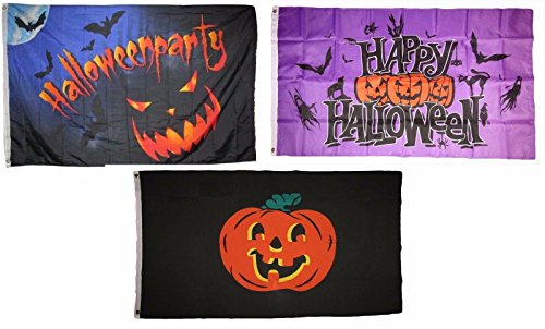 ALBATROS 3 ft x 5 ft Happy Halloween 3 Pack Flag Set #57 Combo Banner Grommets for Home and Parades, Official Party, All Weather Indoors Outdoors]()