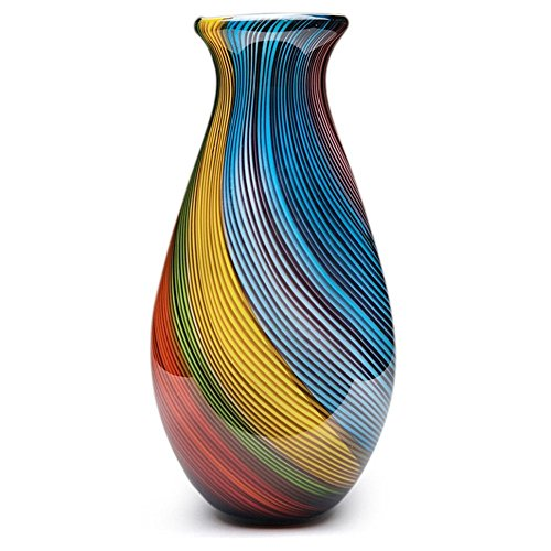 Handmade Glass Rainbow Twist Vase - 11