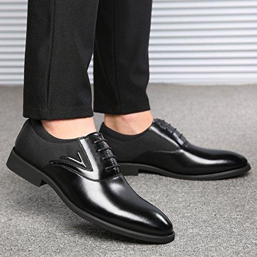 Travail Taille Pointu De Black Dentelle Formelle Chaussures Party Robe Mariage Cuir Hommes Business MERRYHE Bout De En Ups Microfibre Grande Oxford pfTRRq