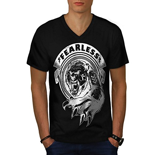 [Fearless Wild Animal Tiger Bear Men NEW S V-Neck T-shirt | Wellcoda] (Bear Jew Costume)