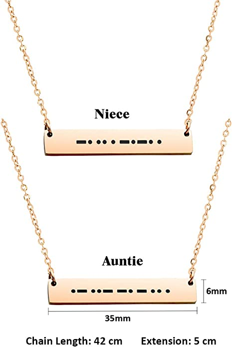 JINGMARUO Morse Code Bar Necklace Gift for Mom Daughter Aunt Grandma Sister Niece Hidden Message Necklace for Her