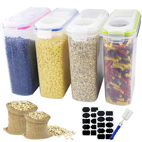 BAKHUK Cereal Storage Container - Large Sealed Cans 4L (136oz) in 4 Colors, with Stickers and Brushes, for Cereals, Flour, Coffee, Pet Food, etc.