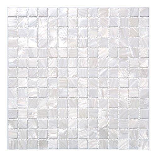 Diflart Oyster White Mother of Pearl Mosaic Tile Backsplash Tile for Kitchen, Bathroom Walls, Spa Tile, Pool Tile,33 Sheets/Box