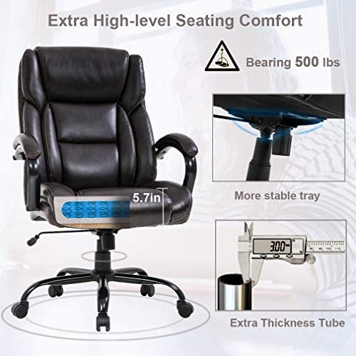 Big and Tall Office Chair 500lbs Wide Seat Ergonomic Desk Chair Task High Back Executive Chair Rolling Swivel PU Computer Chair with Lumbar Support Armrest Adjustable Chair for Heavy People, Brown 51ws0B2zfGL