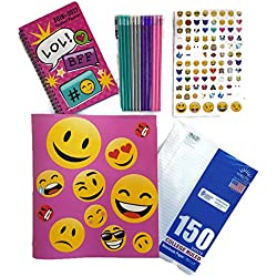 Back to School Supplies For Girls Emoji Bundle of 5 Includes 1 Binder, Student Planner, 500 Stickers, College Ruled Paper and Set of 12 Designer Pencils