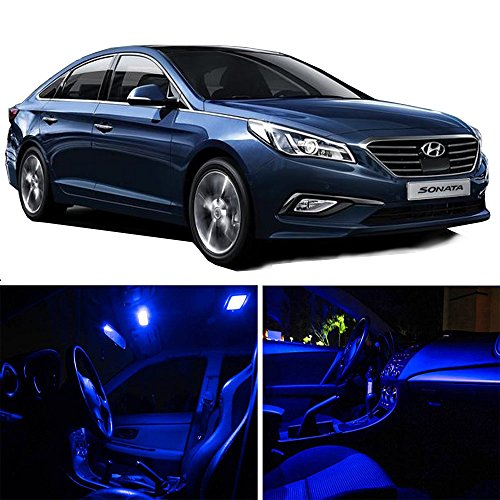 cciyu 14 Pack Blue LED Bulb For 2007-2014 Hyundai Sonata LED Interior Lights Accessories Replacement Package Kit (Blue Hyundai Sonata)