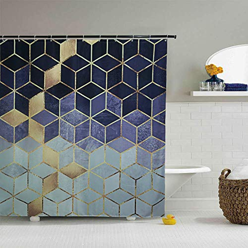 YoKii Geometric Fabric Shower Curtain, Ombre Blue Cubes Gold Like Print Diamond Polyester Bath Curtain Set, 72-Inch Spa Hotel Heavy Weighted Bathroom Decor Curtains (72 x 72, Blue Geometric) (Curtains Geometric Fabric Shower)