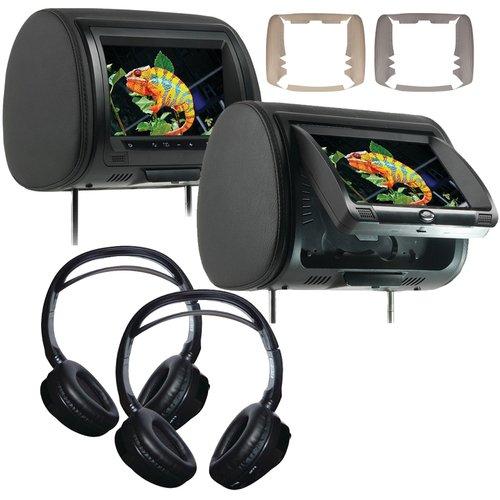 Concept CLD-903 (2)9'' Headrest Monitors w/DVD Players &(2) Wireless Headphones