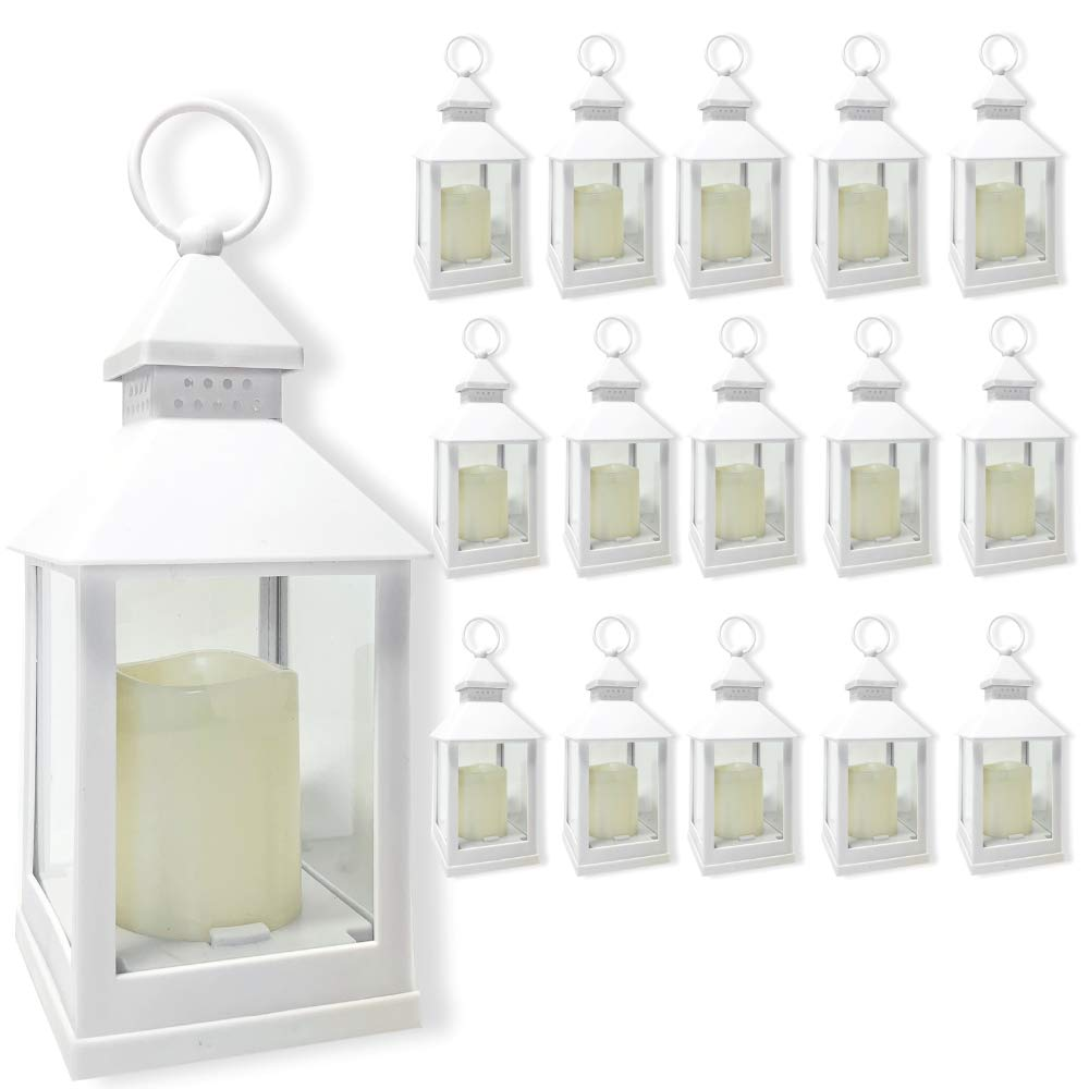 BANBERRY DESIGNS Decorative Lanterns Set - Set of 16-5 Hour Timer - 9 3/8'' H White LED Lanterns with Flameless Pillar Candles Included - Indoor/Outdoor Lantern Set- Hanging or Sitting Decoration...