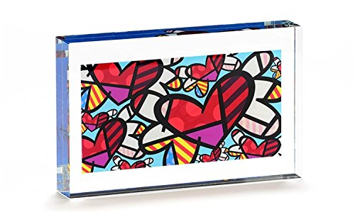 Romero Britto Double Sided Glass Block- Flying Hearts Design -